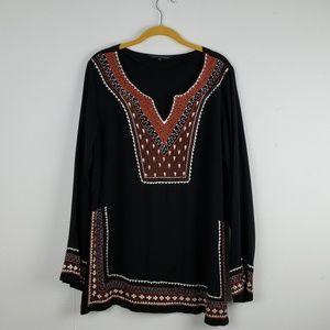 Karma Highway Black w/ Embroidery Tunic Top